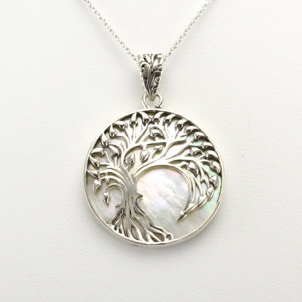 Silver Mother of Pearl Willow Tree Pendant