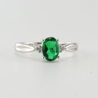Silver Created Emerald 1ct Oval CZ Ring