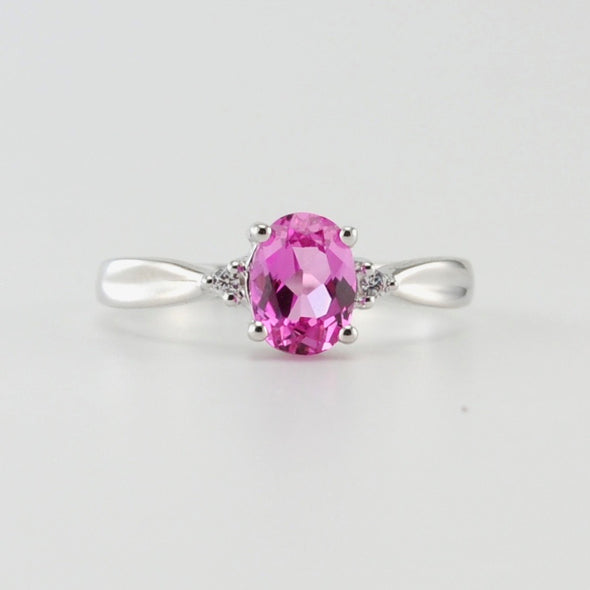 Silver Created Pink Sapphire 1ct Oval CZ Ring