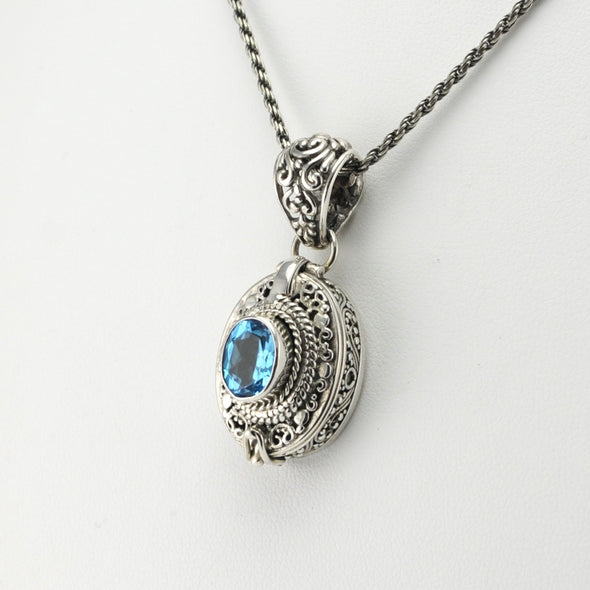 Silver Blue Topaz Oval Locket