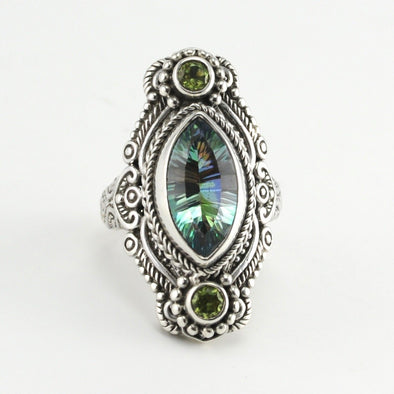 Silver Beyond Elitism Mystic Quartz Peridot Ring