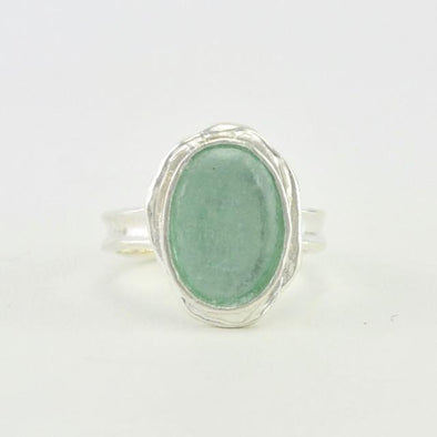 Sterling Silver Roman Glass Oval Ring Size 7