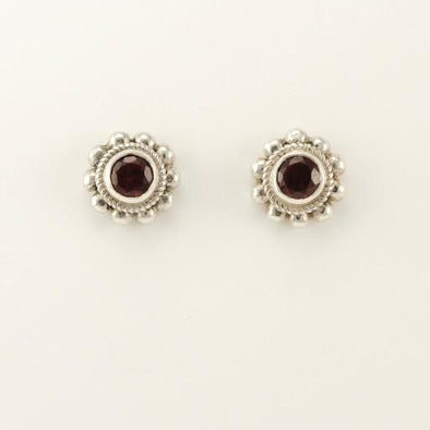 Sterling Silver Garnet 5mm Round Post Earrings