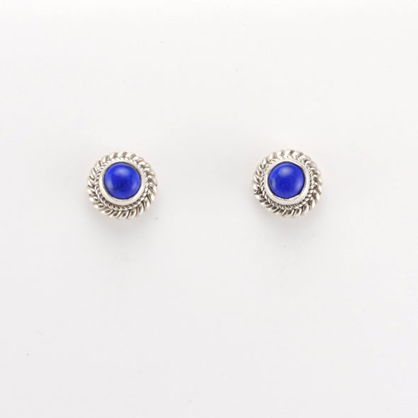Silver Lapis 5mm Round Post Earrings