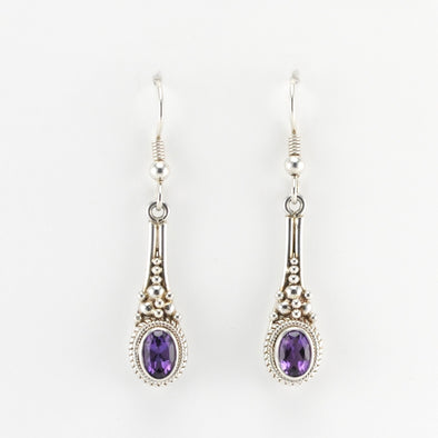 Silver Amethyst 5x7mm Oval Long Drop Earrings