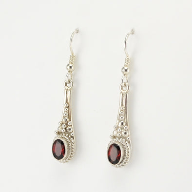 Silver Garnet Long Drop Earring