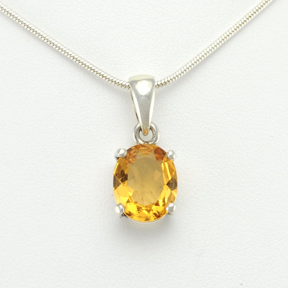 Silver Citrine 10x12mm Oval Prong Set Pendant