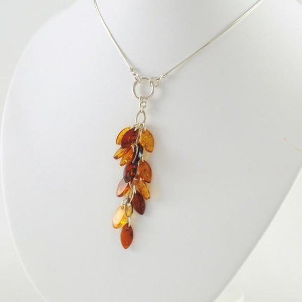 Sterling Silver Baltic Amber Marquise Cascading Necklace