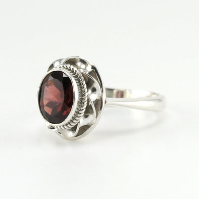 Silver Garnet 7x9mm Oval Ring