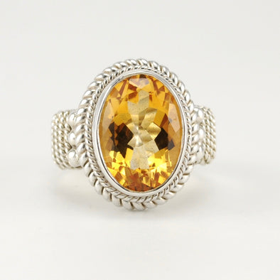 Silver Citrine 10x14mm Oval Ring