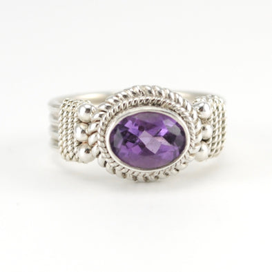 Silver Amethyst Oval Ring