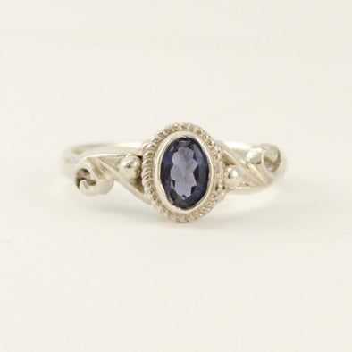Sterling Silver Iolite Oval Ring Size 7
