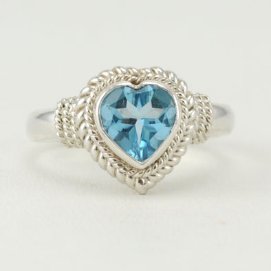 Blue Topaz 7mm Heart Ring