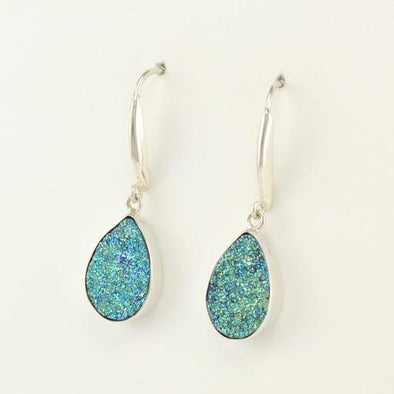 Sterling Silver Peacock Druzy Agate Teardrop Earrings