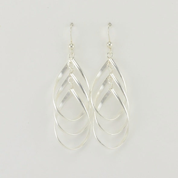 Sterling Silver 3 Teardrop Dangle Earrings