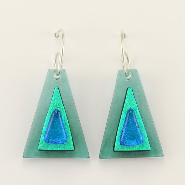 Teal Fused Glass Triangle Earrings