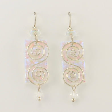Radium Crystal Rectangle with Double Spiral Earrings