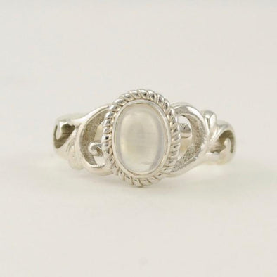 Sterling Silver Moonstone 5x7mm Oval Scroll Ring Size 6