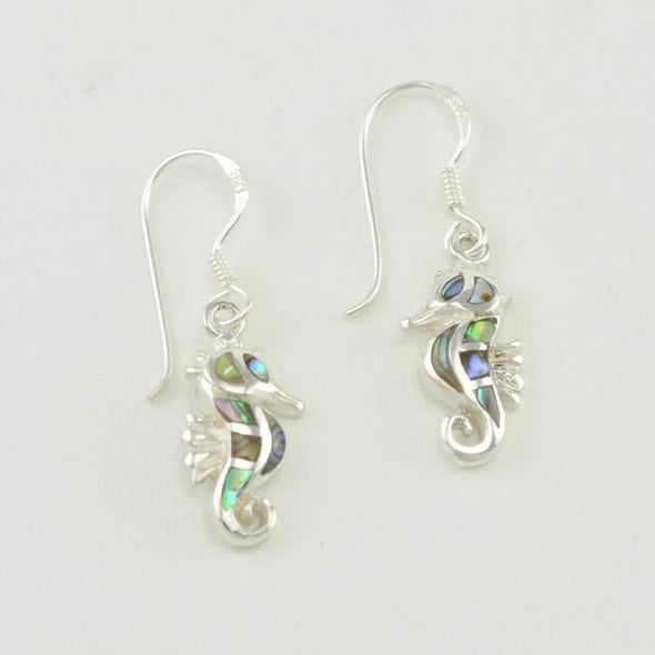 Sterling Silver Abalone Seahorse Dangle Earrings