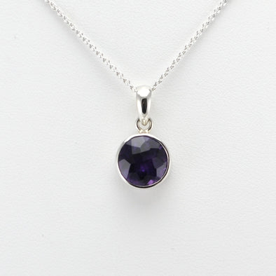 Silver Amethyst Round Necklace