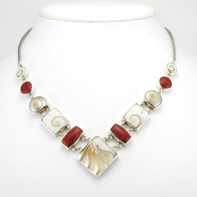 Silver Nautilus Shell Coral Shell Malabar Necklace