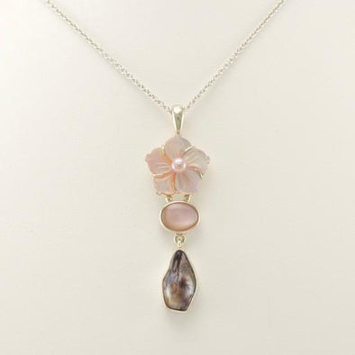 Sterling Silver Pink Shell Flower Biwa Pearl Necklace