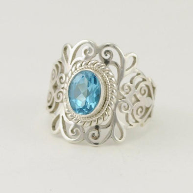 Sterling Silver Blue Topaz Wide Filigree Ring Size 8