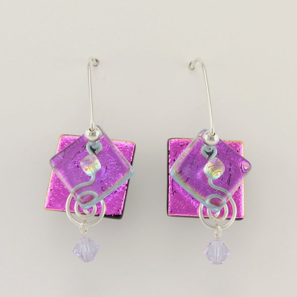 Electric Purple Fused Glass Square Diamond Earrings