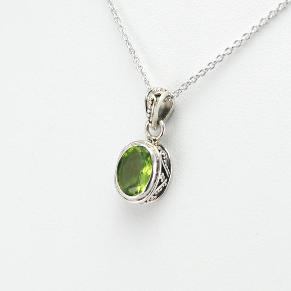 Silver Peridot Oval Bali Necklace