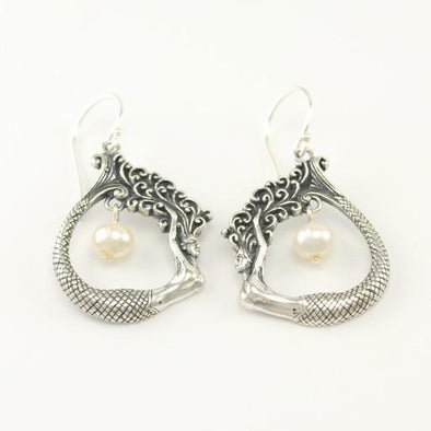 Sterling Silver Mermaid with Pearl Dangle Earrings