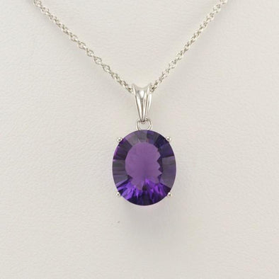 Sterling Silver Amethyst Quartz 10x14mm Oval Drop Necklace