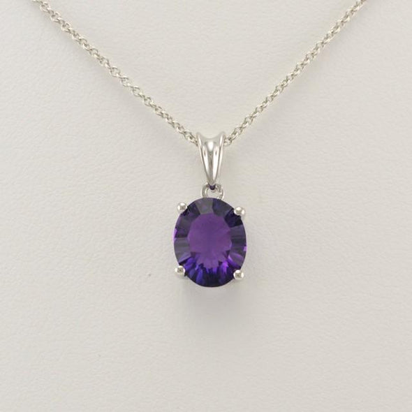 Sterling Silver Amethyst Quartz 8x10mm Oval Drop Necklace