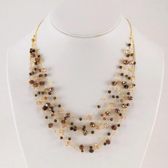 Japanese Silk Cascading Gem, Crystal and Pearl Necklace