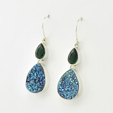 Sterling Silver Druzy Agate and Green Quartz Dangle Earrings