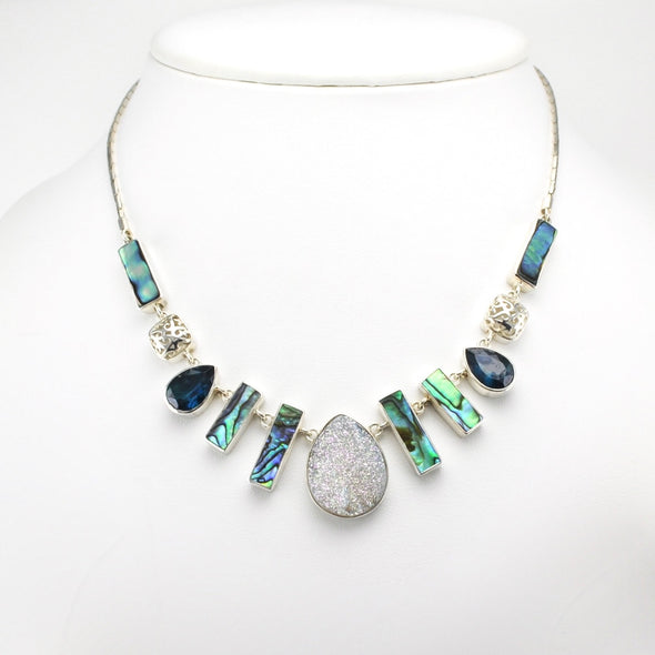 Silver Druzy Abalone and Green Quartz Necklace