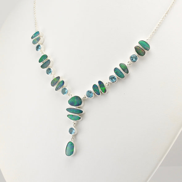Australian Opal and Blue Topaz Necklace