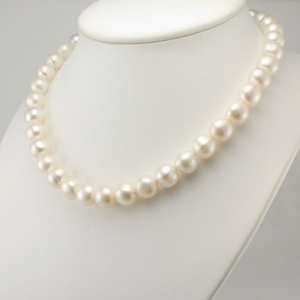 Sterling Silver White Pearl 11mm Necklace