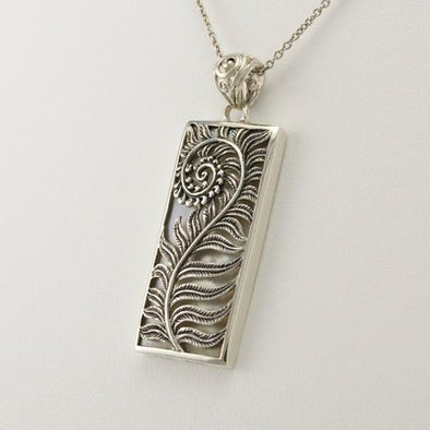 Sterling Silver Mother of Pearl Fiddle Fern Pendant