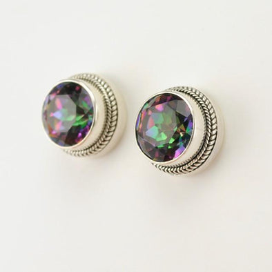 Sterling Silver Mystic Quartz Round Post Earrings