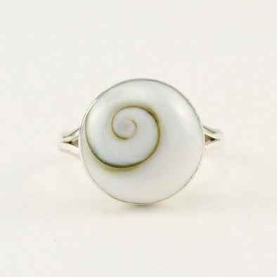 Sterling Silver Shiva Shell Round Ring Size 8
