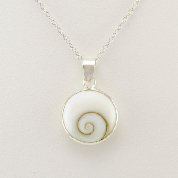 Sterling Silver Shiva Shell Round Drop Necklace
