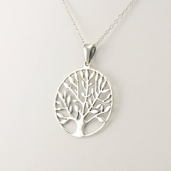 Sterling Silver Tree of Life 1 1/2 Inch Necklace