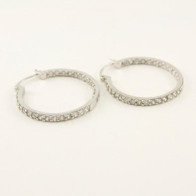 Sterling Silver Cubic Zirconia 30mm Hoop Earrings