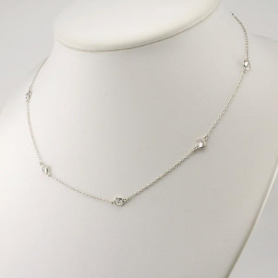 Sterling Silver Cubic Zirconia 16 Inch Necklace with Extender