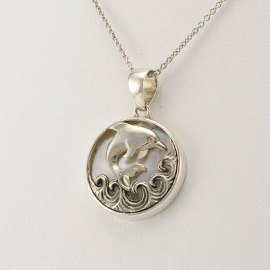 Sterling Silver Mother of Pearl Dolphin Pendant