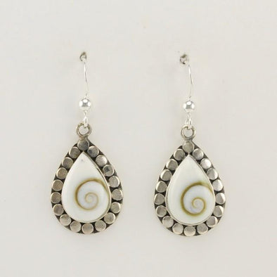 Sterling Silver Teardrop Shiva Shell Dangle Earrings