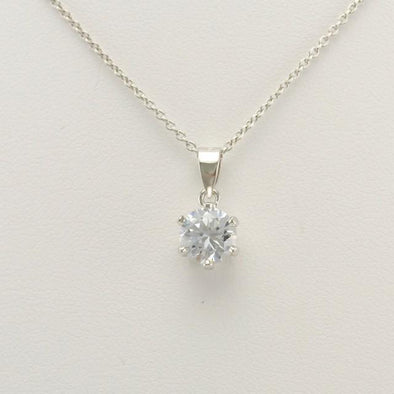 Sterling Silver Cubic Zirconia 7mm Round Drop Necklace