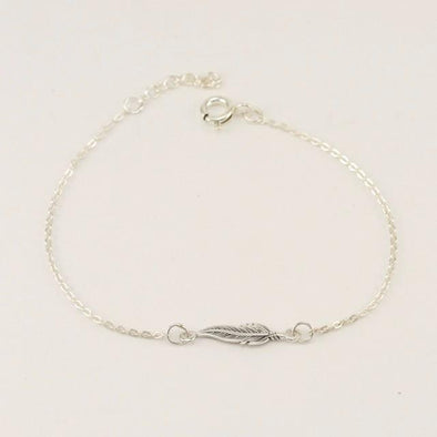 Sterling Silver Petit Feather 6 to 7 Inch Bracelet
