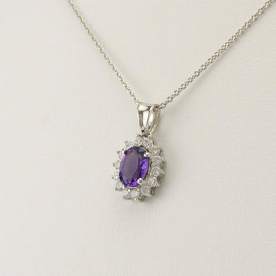 Sterling Silver Amethyst 6x8mm Oval Cubic Zirconia Pendant