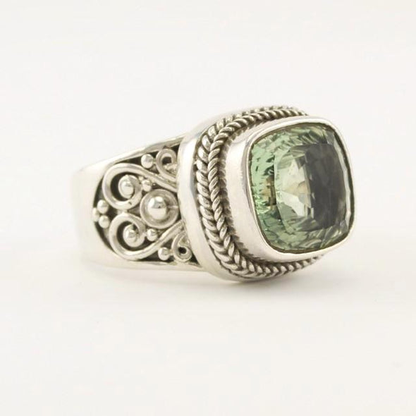 Sterling Silver Prasiolite Square Ring Size 8